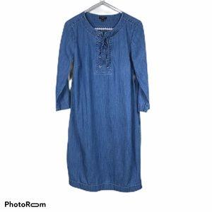 Talbots chambray shift dress 8 Petite 100% Cotton